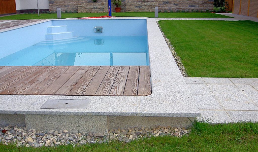 Poolabdeckplatte - Diamond-Grey Geflammt